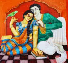 Figurative Acrylic Art Painting title 'Babu And Bibi 3' by artist Gautam Mukherjee