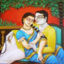 Gautam Mukherjee | Acrylic Painting title Babu and Bibi II on Canvas | Artist Gautam Mukherjee Gallery | ArtZolo.com