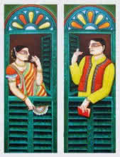 Conversation | Painting by artist Gautam Mukherjii | acrylic | Canvas