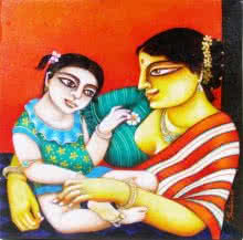 Figurative Acrylic Art Painting title 'Mother and Child' by artist Gautam Mukherjee