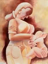 Religious Acrylic Art Painting title 'Ganeshjanani' by artist Rakhi Chanda
