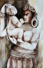 Religious Watercolor Art Painting title 'Ladoogopal' by artist Rakhi Chanda