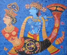 Religious Acrylic Art Painting title Krishna With Dream Girl by artist Bhaskar Lahiri