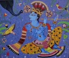 art, painting, canvas, acrylic, religious, god, lord krishna