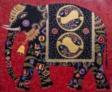 Royal Elephant 5 | Painting by artist Bhaskar Lahiri | acrylic | Canvas