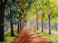 Realistic Watercolor Art Painting title Blissful shades of Cubbon park by artist Lasya Upadhyaya