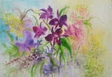Nature Watercolor Art Painting title Symphony of orchids by artist Lasya Upadhyaya
