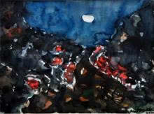 Abstract Watercolor Art Painting title 'Moonlit Village 1' by artist Asit Poddar
