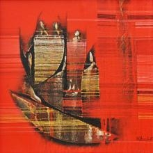 Conquer Red Abstract | Painting by artist Rahul Dangat | acrylic | Canvas
