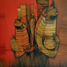 Figurative Acrylic Art Painting title 'Couple' by artist Rahul Dangat