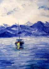Seascape Oil Art Painting title 'Fishing Boat' by artist Kiran Bableshwar