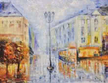 Impressionist Oil Art Painting title 'Old Kolkata' by artist Kiran Bableshwar