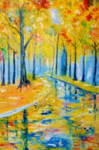 Impressionist Oil Art Painting title Summer Woods20x13 by artist Kiran Bableshwar
