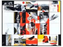 Mixed Media Painting titled 'Checkered Abstract' by artist Neeraj Ydava on Canvas