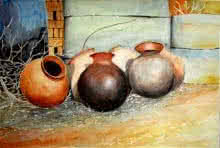 Biki Das Paintings | Watercolor Painting - Pots composition by artist Biki Das | ArtZolo.com