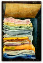 Still-life Watercolor Art Painting title 'My cloths' by artist Biki Das