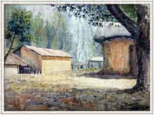Landscape Watercolor Art Painting title Landscape by artist Biki Das
