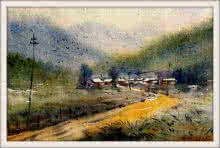 Biki Das Paintings | Watercolor Painting - Landscape by artist Biki Das | ArtZolo.com