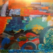 Nishant Mishra | Mixed-media Painting title Paperboat on Canvas | Artist Nishant Mishra Gallery | ArtZolo.com