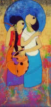 Musical Love | Painting by artist Dnyaneshwar Bembade | acrylic | Canvas