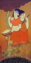 Dnyaneshwar Bembade | Acrylic Painting title Best Friends on Canvas | Artist Dnyaneshwar Bembade Gallery | ArtZolo.com