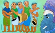 Figurative Acrylic Art Painting title GANESHA WORSHIP by artist Dnyaneshwar Bembade
