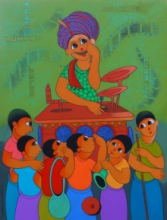 Figurative Acrylic Art Painting title 'Bioscope' by artist Dnyaneshwar Bembade