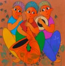 Figurative Acrylic Art Painting title 'Musical Enjoy 1' by artist Dnyaneshwar Bembade