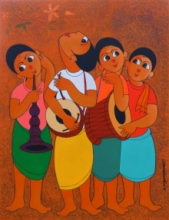 Figurative Acrylic Art Painting title 'Musical Environment' by artist Dnyaneshwar Bembade