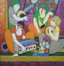 Welcome Ganesha | Painting by artist Dnyaneshwar Bembade | acrylic | Canvas