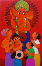 Religious Acrylic Art Painting title 'Welcome Ganesha' by artist Dnyaneshwar Bembade