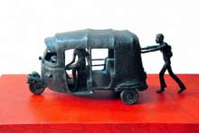 Bronze, Wooden Sculpture titled 'Convincing For Destination' by artist Rohit Sharma