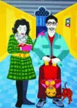 Amit Lodh | Acrylic Painting title Nuclear Family on Canvas | Artist Amit Lodh Gallery | ArtZolo.com