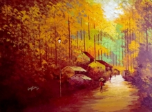 Landscape Acrylic Art Painting title 'My Village 2' by artist Ganesh Panda