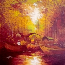 Landscape Acrylic Art Painting title Reflection by artist Ganesh Panda