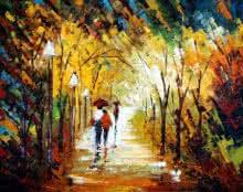 Nature Oil Art Painting title 'Romantic Walk In The Rain' by artist Ganesh Panda