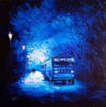 The Bus Ride | Painting by artist Ganesh Panda | acrylic | Canvas