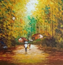 Landscape Acrylic Art Painting title 'Village 2' by artist Ganesh Panda