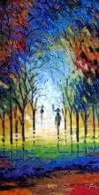 Walk In The Rain | Painting by artist Ganesh Panda | oil | Canvas