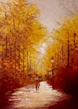 Landscape Acrylic Art Painting title Walking Towards Sunshine by artist Ganesh Panda