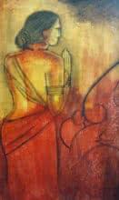 contemporary Acrylic Art Painting title 'Vakrathunda' by artist Janaki Injety