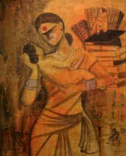 contemporary Acrylic Art Painting title 'Joy' by artist Janaki Injety