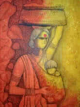 Figurative Acrylic Art Painting title 'The Mother' by artist Janaki Injety