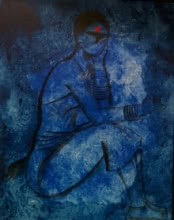 contemporary Acrylic Art Painting title 'Waiting' by artist Janaki Injety