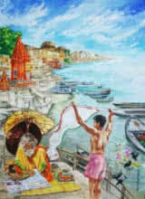 Cityscape Mixed-media Art Painting title 'Morning In Banaras' by artist Shambhu Nath Goswami