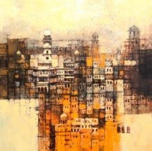 Cityscape Acrylic Art Painting title 'Aq Arif Artwork' by artist Aq Arif