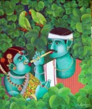 Couple With Parrot 1 | Painting by artist Bhawandla Narahari | acrylic | Canvas
