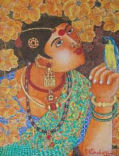 Lady With Parrot 1 | Painting by artist Bhawandla Narahari | acrylic | Canvas