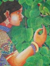 Lady With Parrot 3 | Painting by artist Bhawandla Narahari | acrylic | Canvas