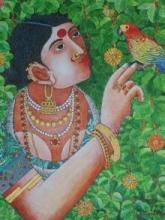 Lady With Parrot 4 | Painting by artist Bhawandla Narahari | acrylic | Canvas